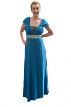 Poze Rochie inedita, eleganta, lunga, cu design din pietre, pe albastru