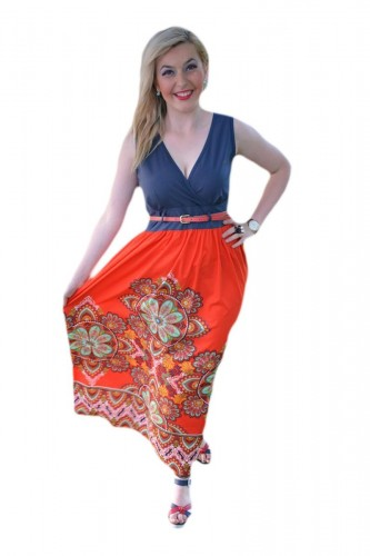 Rochie maxi, de culoare bleumarin-rosu