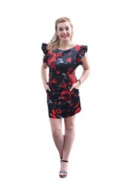 Rochie neagra cu trandafiri rosi si maneca cu falduri