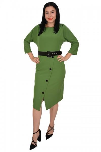 Poze Rochie rafinata Adrianna cu crepeu in fata si nasturi de-a lungul crepeului,nuanta de verde