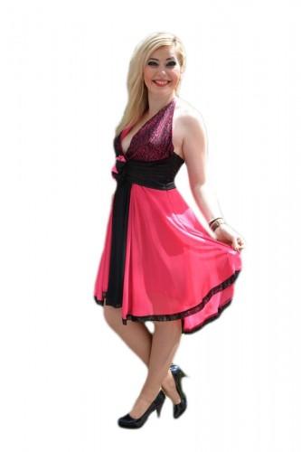 Poze Rochie rafinata, de culorie rosu si roz, cu top imbracat in paiete