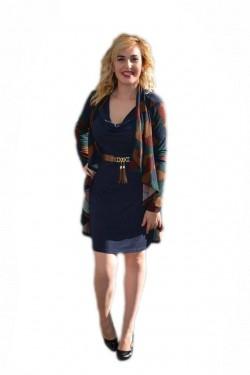 Poze Rochie rafinata de toamna-iarna, bleumarin, cu insertie tip cardigan