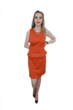 Poze Rochie rafinata , portocalie, cu peplum si detalii aurii