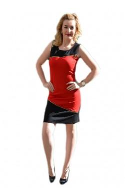 Poze Rochie scurta in doua culori, rosu-negru