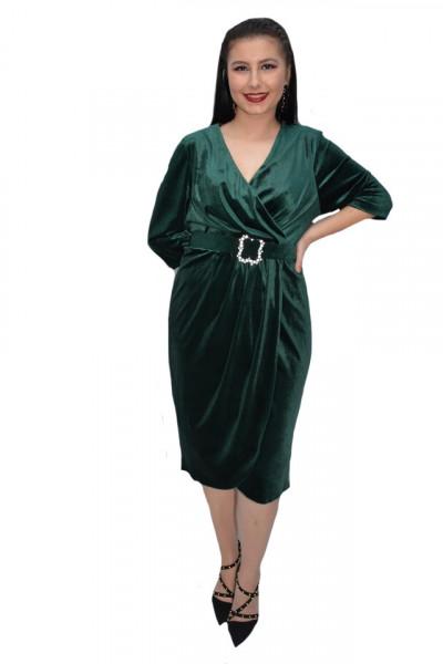 Poze Rochie Vika din catifea,petrecuta,decolteu in V,verde