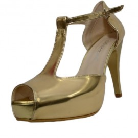 Poze Sanda clasica tip pantof cu platforma, piele ecologica aurie