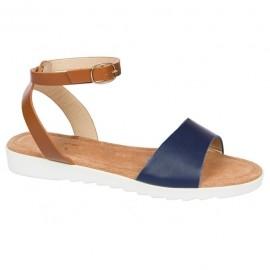 Poze Sanda cu talpa joasa de culoare bleumarin-maro