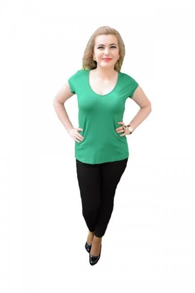 Poze Tricou tineresc, lejer si comod, nuanta de verde, design simplu
