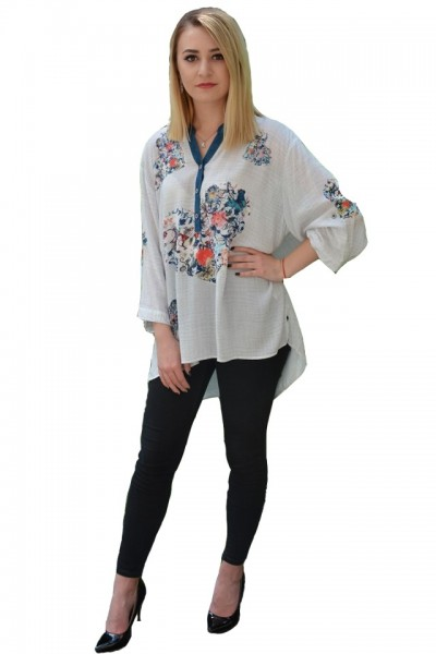 Poze Bluza casual ,croi lejer,model painted,nuanta de alb