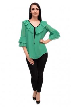 Poze Bluza casual de primavara-vara, nuanta de verde cu detalii negre