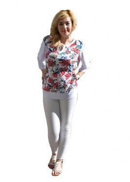 Bluza cu efect 3D, nuante alb-bleumarin-rosu