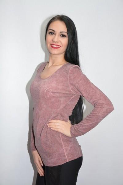 Bluza cu imrpimeu digital natural in nuanta plamaniu