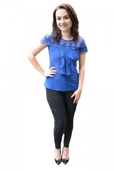 Poze Bluza dama Luna ,aplicatii de dantela si strasuri,nuanta de albastru