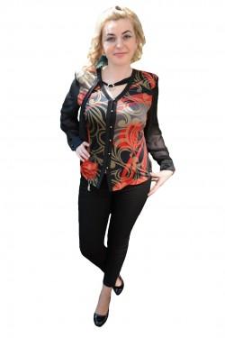 Poze Bluza de ocazie cu nasturi in fata, culoare neagra cu model rosu