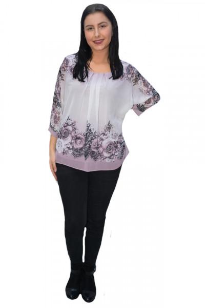 Poze Bluza de ocazie din material tip voal,pudra cu imprimeu floral pudra