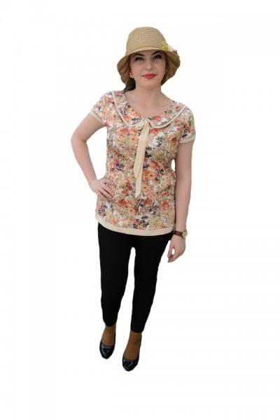 Poze Bluza eleganta, de culoare bej, cu imprimeu de flori de vara