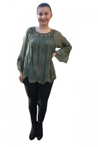 Poze Bluza eleganta Medelyn cu insertii de broderie florala,nuanta de kaki