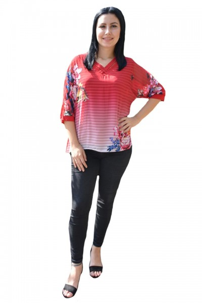 Poze Bluza eleganta, rosie, din material vaporos, cu dungi si flori