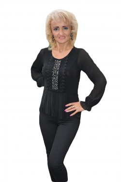 Poze Bluza fashion de culoare neagra cu strasuri si dantela in fata