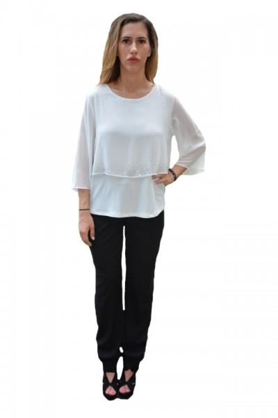 Poze Bluza Hanna cu aplicatii de strasuri pe voal ,nuanta de alb