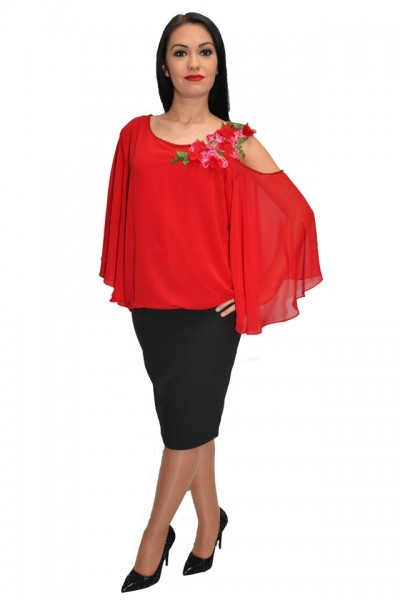 Poze Bluza moderna stil poncho de culoarea rosu