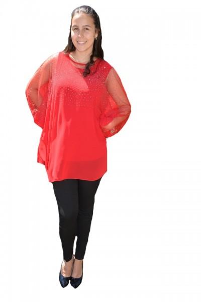 Poze Bluza rafinata cu strasuri model cu voal detasabil,nuanta de rosu