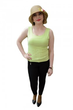 Poze Bluza verde deschis, din material elastic cu model imprimat