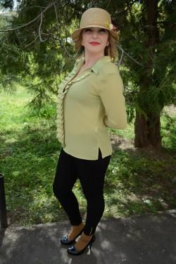 Camasa fashion verde deschis, material subtire transparent