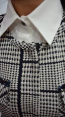 Camasa rafinata cu insertie tip guler detasabila, bleumarin-alb