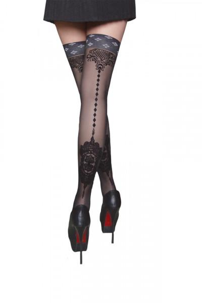 Ciorap modern cu banda, model deosebit in spate pe fond negru