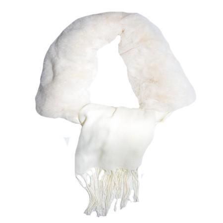 Esarfa Beatrice 2 in 1 cu insertii de blanita ,nuanta de alb