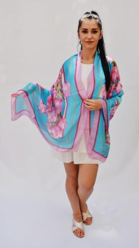 Poze Esarfa chic, model elegant cu imprimeu floral multicolor