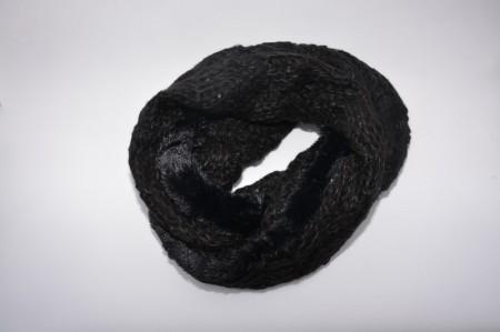 Fular Eve circular din tricot cu inertii de paiete si blanita ,nuanta de negru