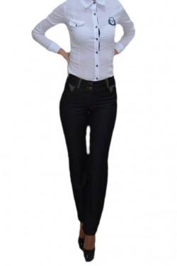 Poze Pantalon de culoare gri, model lung cu design de buzunare