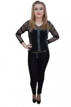 Poze Pantalon elastic, nuanta de negru, buline fashion aplicate