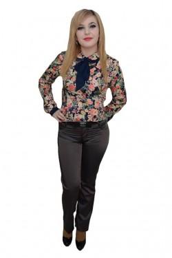 Poze Pantalon trendy,design modern, insertii de cusaturi, nuanta gri