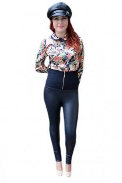 Poze Pantalon trendy, imitatie de piele chic, nuanta de bleumarin