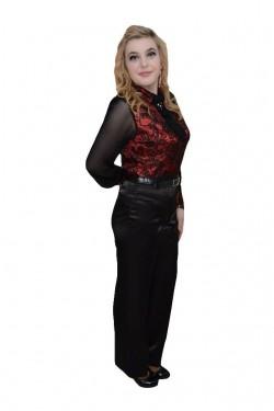 Poze Pantalon usor lucios, talie inalta, nuanta de negru, curea clasica