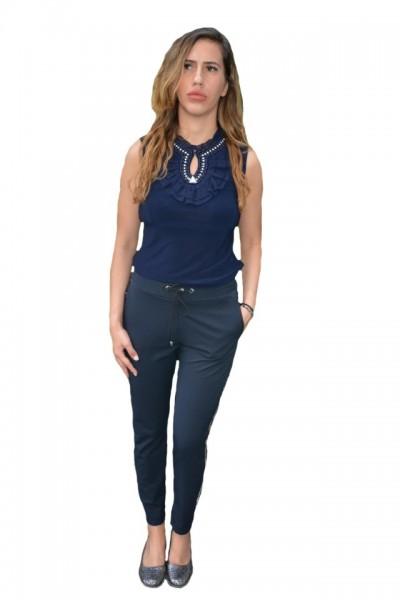 Pantaloni eleganti Tessa cu aplicatii de strasuri,nuanat de bleumarin