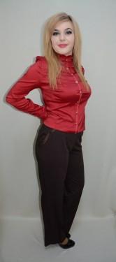 Pantaloni  feminini, lungi,clasici cu inserti de saten la buzunare