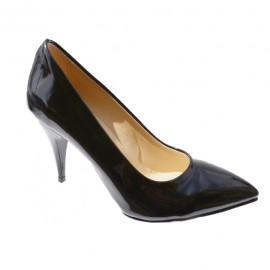 Pantof elegant, de culoare neagra, din piele ecologica lacuita