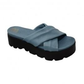 Poze Papuc simplu cu talpa groasa, din piele moale, nuanta albastra