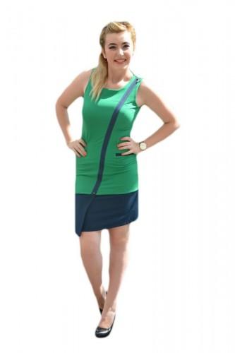 Rochie casual de primavara-vara, de culoare verde-bleumarin