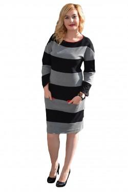 Rochie chic, de culoare negru-gri, cu design modern, dungat