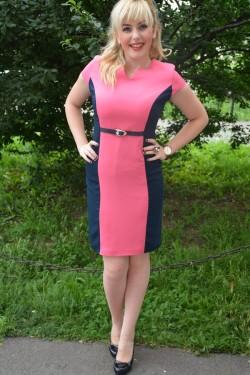 Rochie clasica de culoare bleumarin combinat cu roz