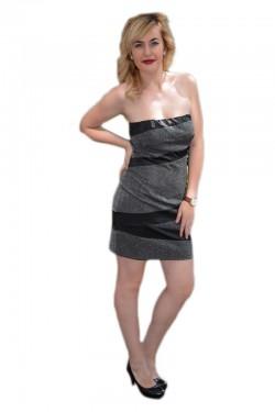 Rochie cu insertii de saten, de culoare argintie RO-309-AR