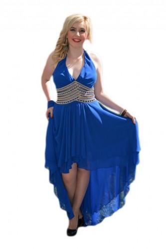 Poze Rochie de seara lunga, albastru regal cu trena, insertii de voal si strasuri aurii