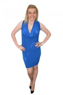 Poze Rochie de seara scurta, albastra, model simplu cu design aparte