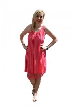 Poze Rochie de vara midi, cu insertii de broderie, de culoare roz