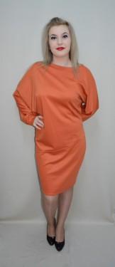Rochie de zi, cu maneci lungi stramte la incheieturi, portocalie